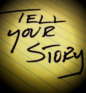 Handwritten note saying Tell your Story presented in image vignette